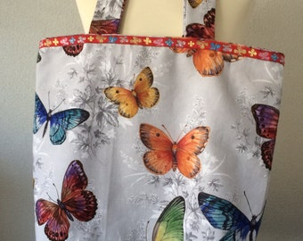Bag tote beach bag summer bag shopping bag colorful butterflies and flowers
