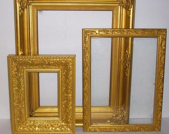 3 Shabby Chic Ornate Gold Picture Frames for Gallery Wall, Wedding Decor, Nursery Decor