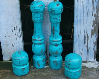 Set of 4 Vintage Aqua Blue Distressed Wood Salt and Pepper Shakers