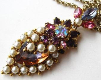 Vintage 40s Original by Robert Pink Jeweled Rhinestone & Pearl Pendant Necklace