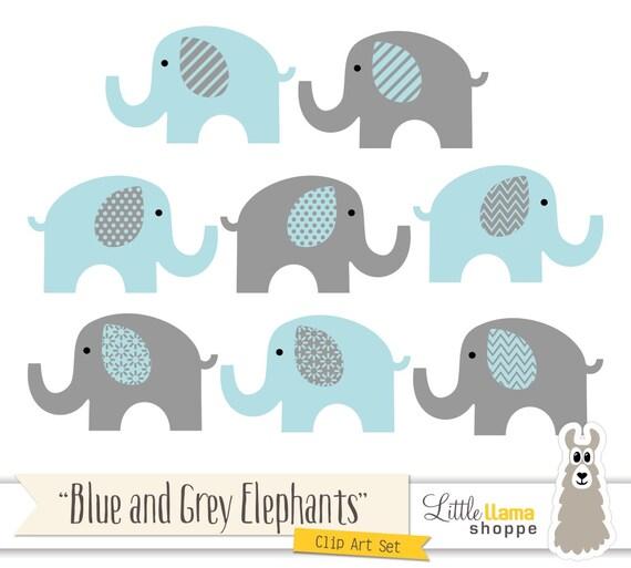 Blue and Grey Elephants Clipart Blue & Gray Nursery Decor