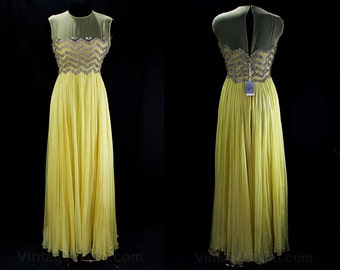 Size 6 Evening Dress - Malcolm Starr 1960s Ball Gown - Buttercup Yellow Silk Chiffon & Extravagant Beadwork - Waist 27 - 60s Tags - 45787
