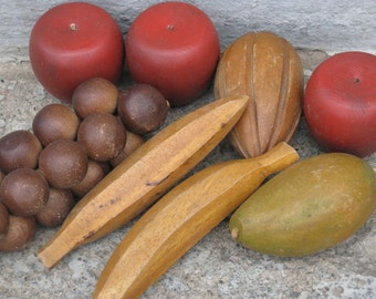 danish modern wooden fruit 8 pieces tinted colored wooden fruit mid century chic  pieces of fruit