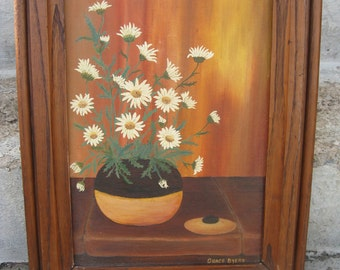 "original oil painting fall colors white daisies signed oil painting  solid wood frame 17"" by 21 "" traditional cottage country"