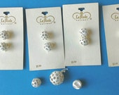 White Rhinestone Studded Ball Shaped Shank 1/2 Inch Carded Buttons N0008