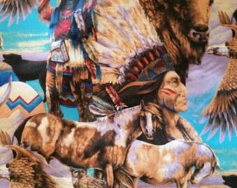 Native American Novelty Cotton 1 7/8 Yards Horse, Eagle, Buffalo, Wolf  X0592
