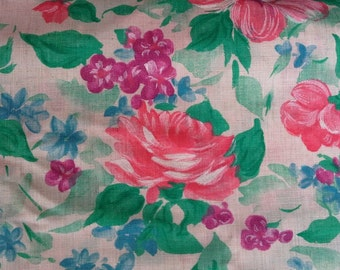 Pink Roses Fabric 3 yards X0399