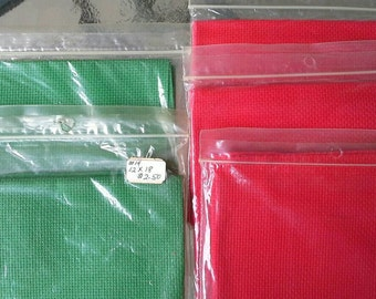 5 Pieces Red and Green 14 Count Aida Cloth, Cross Stitch Fabric