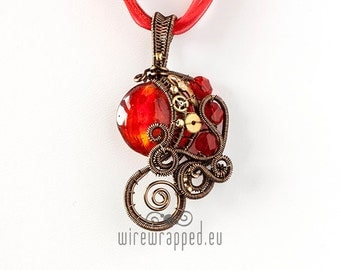 OOAK Red steampunk wire wrapped pendant