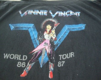 Vintage 80's Vinnie Vincent Invasion of KISS 1986 1987 Concert Heavy Metal Tour Black T Shirt L