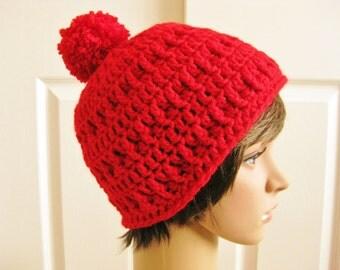 Crochet Red Beanie Hat-Crochet Hat-Red Beanie-Crochet Beanie with Pom Pom-Crocheted Red Beanie-Beanie with Pom Pom-