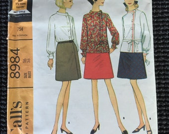 Vintage McCall's 8984 Misses Blouse Skirt Sewing Pattern Size 16 UNCUT