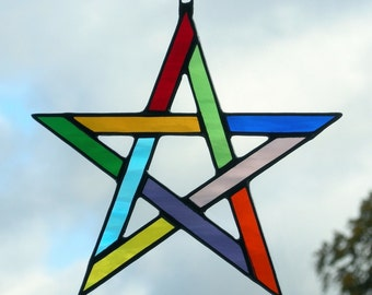 Stained Glass Pentagram 5 pointed star in multiple coloured rippling water glass