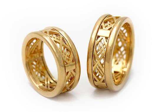 Matching wedding bands Wedding band set gold Gold bands 14K