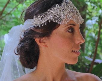 Crystal Bridal Headpiece, Statement Crystal Headband, Crystal Bridal Hairpiece, Boho Bridal Headband, SKYE