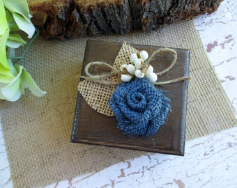 Rustic wooden ring bearer box. Country, barn, western cowboy wedding.