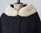 Swing Coat Black Vintage Faux Curly Lamb with White Mink Collar 50's/60's Satin Lined size Medium
