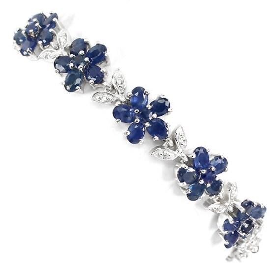 "Genuine 67cts Blue Sapphire gemstones, CZ's 14kt White Gold Bracelet 7 1/2"""