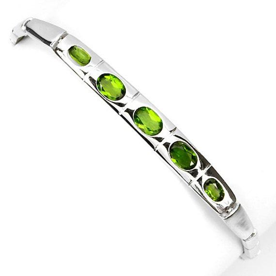 "GENUINE RUSSIAN Green Chrome Diopside, 14kt White Gold on Sterling Silver Bracelet 8 3/4"" adjustable"