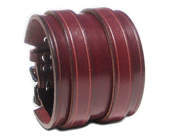 """BURGUNDY Leather Wristband, 2 1/4"""" Wide, 2 Silver Buckles, Mens Leather Bracelet, Genuine Leather Cuff, Wrist band, Womens Leather Jewelry"""
