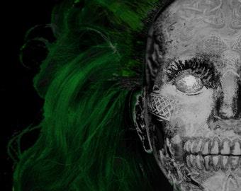 Skull Doll Green Hair Horror Face Print Photo Close Up 6 x 4 6x4 Zombie Skeleton Goth Halloween