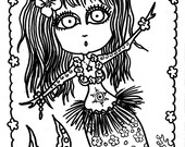 Instant Download Mermaid Girls to color or make into cards. 5 different pictures. Great for Scrapbooking. Digital Stamps.