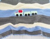 Crochet blanket , baby boys blue afghan , baby boy bedding , train , crochet baby blanket