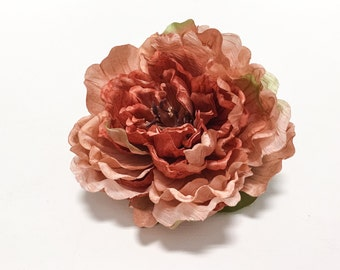 Artificial Flowers - Dry Look Peony in Dusty Salmon - 5 Inches - Silk Flower