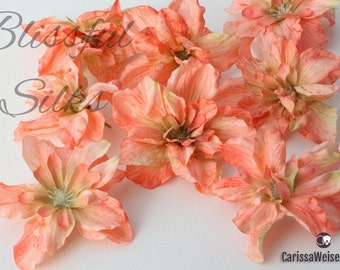 Silk Flowers - 8 Delphinium Blossoms in CORAL PEACH - ALMOST 2.5 Inches - Artificial Flowers