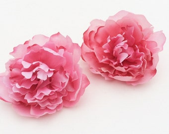Two Watermelon Pink Peonies - 3.75 Inches - Budget Flowers, Artificial Flowers, Silk Flowers