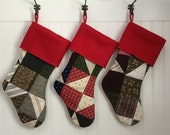 Family Christmas Stocking Set of 6 Vintage Patchwork Quilt Red Cuff Country Christmas Family Christmas Stockings Set of 6