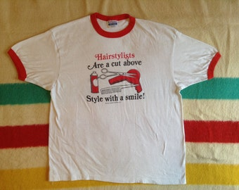 Ringer T Shirt Hairstylist Are A Cut Above 1988 XL 50/50 Hanes