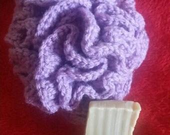 Purple bath pouf