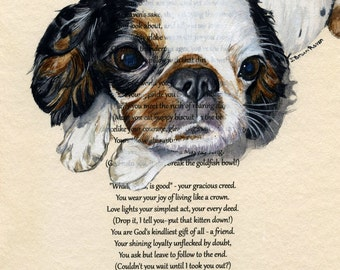 Custom, painted just for you, Pet Portrait with text of your choice - Original Watercolor Painting, size: 10x8 inches
