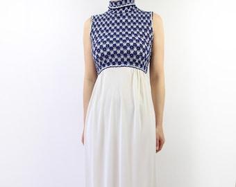 VINTAGE 1960s Nightgown Blue White Maxi Dress