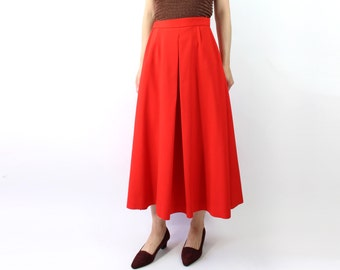 VINTAGE Red Full Skirt 1960s Long