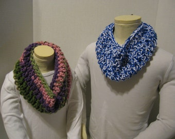ToddlerChild Cowl Scarf in Royal/White OR Green/Purple/Pink