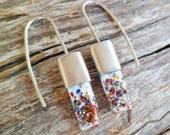 Fused Glass Earrings. Sterling Silver Earrings. Art Glass Earrings.