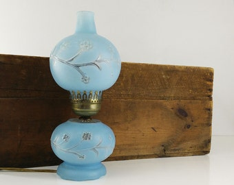Blue Boudoir Lamp / Frosted Glass Double Globe Electric Hurricane Lamp