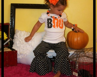 Halloween Ruffle Pant Set / Infant Toddler Girl Sizes / 3m 6M 12M 18M 2T 3T 4T 5T 6 7 8
