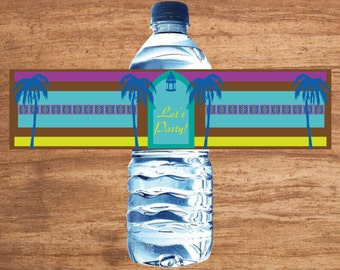 Instant Download Mediterranean Party Water Bottle Labels