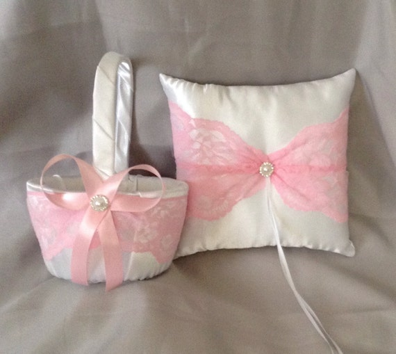 How To Make A Lace Flower Girl Basket : Pink lace flower girl basket and ring bearer pillow white or