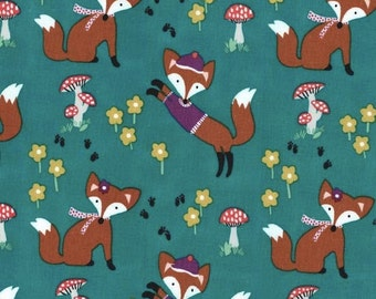 Lil Foxy Fabric in Teal by Michael Miller Fabrics 1 Yard