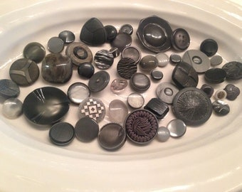 Shank Buttons - 50 assorted grey shank buttons