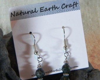 Green jasper serpentinite earrings faceted stone jewelry semiprecious stone jewelry packaged in a colorful gift bag 2232