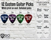 12 CUSTOM GUITAR PICKS - White print on Asst. Celluloid Guitar Picks - Text only