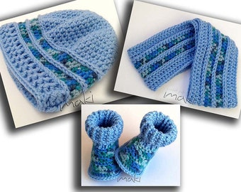 Crochet pattern set - baby boots, beanie and scarf for boys and girls. Full of large pictures! Permission to sell finished items.