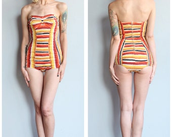 1950s Bathing Suit // Catalina Striped One Piece Swimsuit // vintage 50s swimwear