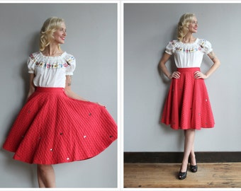 1950s Skirt // Red Quilted Skirt // vintage 50s skirt