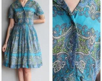 Sale 1950s Dress // Kay Whitney Scarf Print Dress // vintage 50s dress